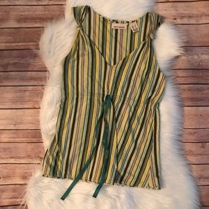 DKNY STRIPED TIE FRONT TANK TOP